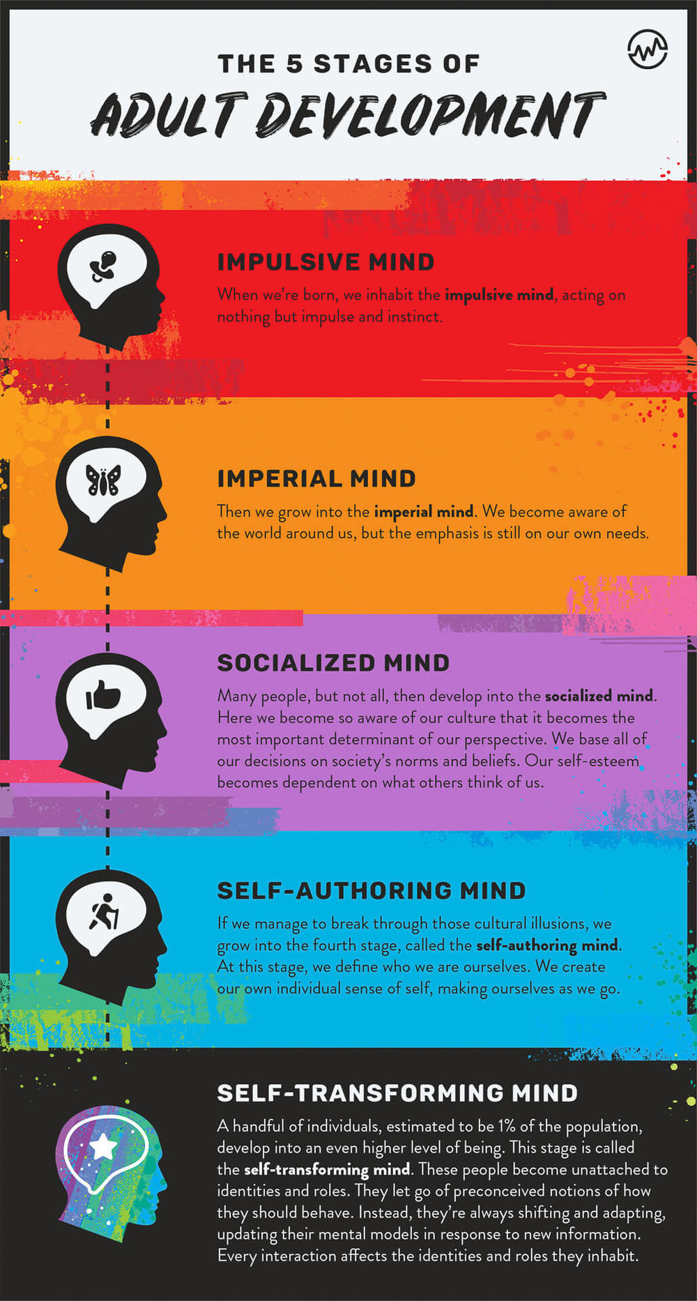 Five stages to adult development infographic