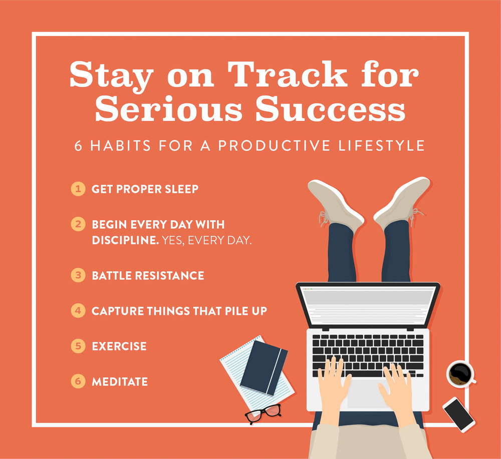 A list of 6 habits for a productive lifestyle and success