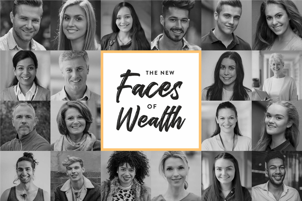 faces of new people who are on the road to wealth and success