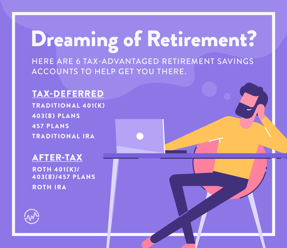 Dreaming of retirement graphic with a man working on a computer