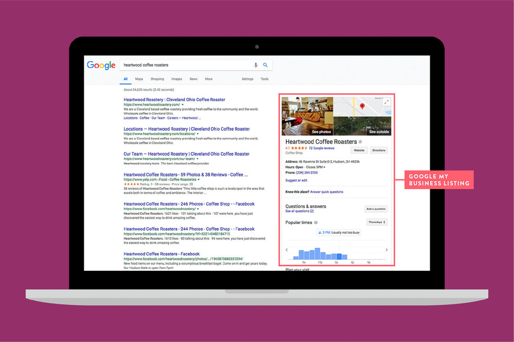 Google my business listing appear on the right side of search results