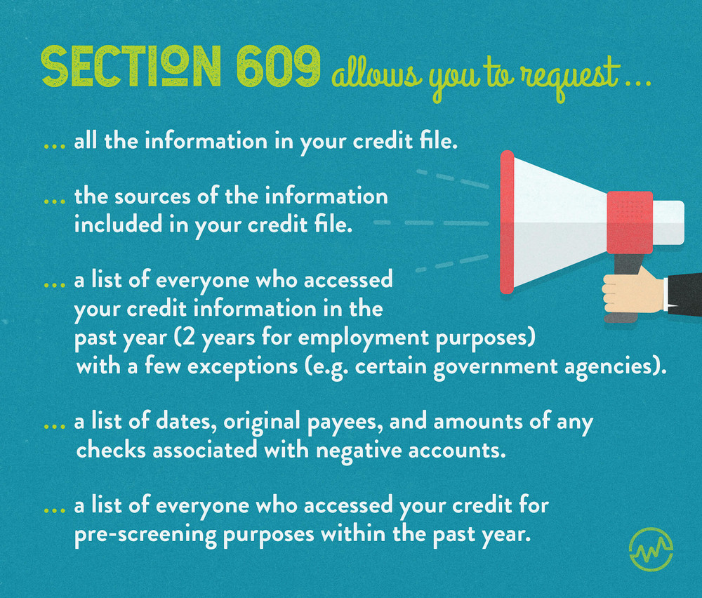 A list of information you can request using a 609 letter.
