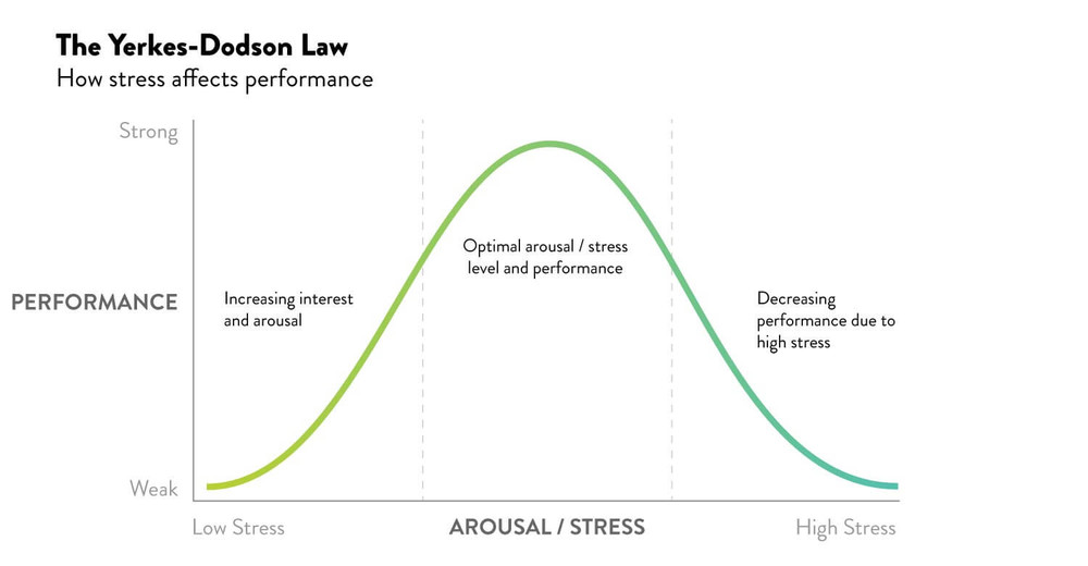 Yerkes-Dodson Law graph showing how stress affects performance