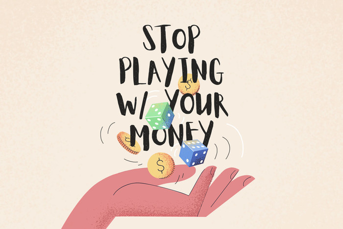 Throwing dice and money in the air graphic