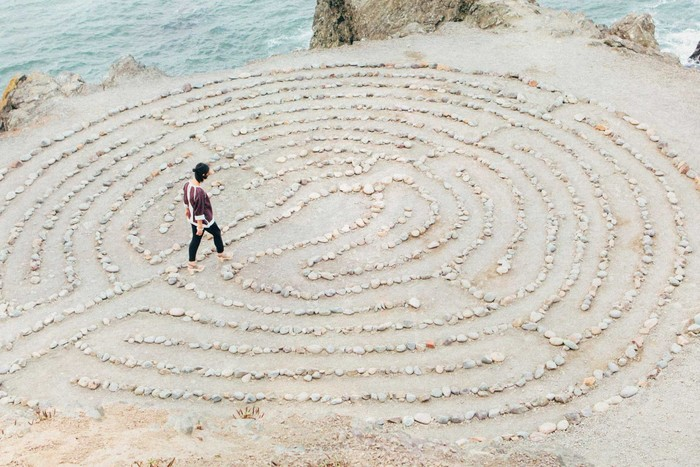 Woman walks through the spiritual circle to find herself