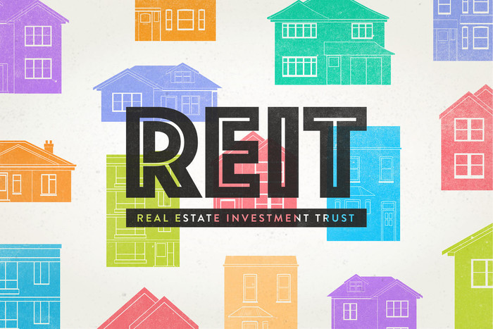 Real estate investment trust graphic with one and two story houses