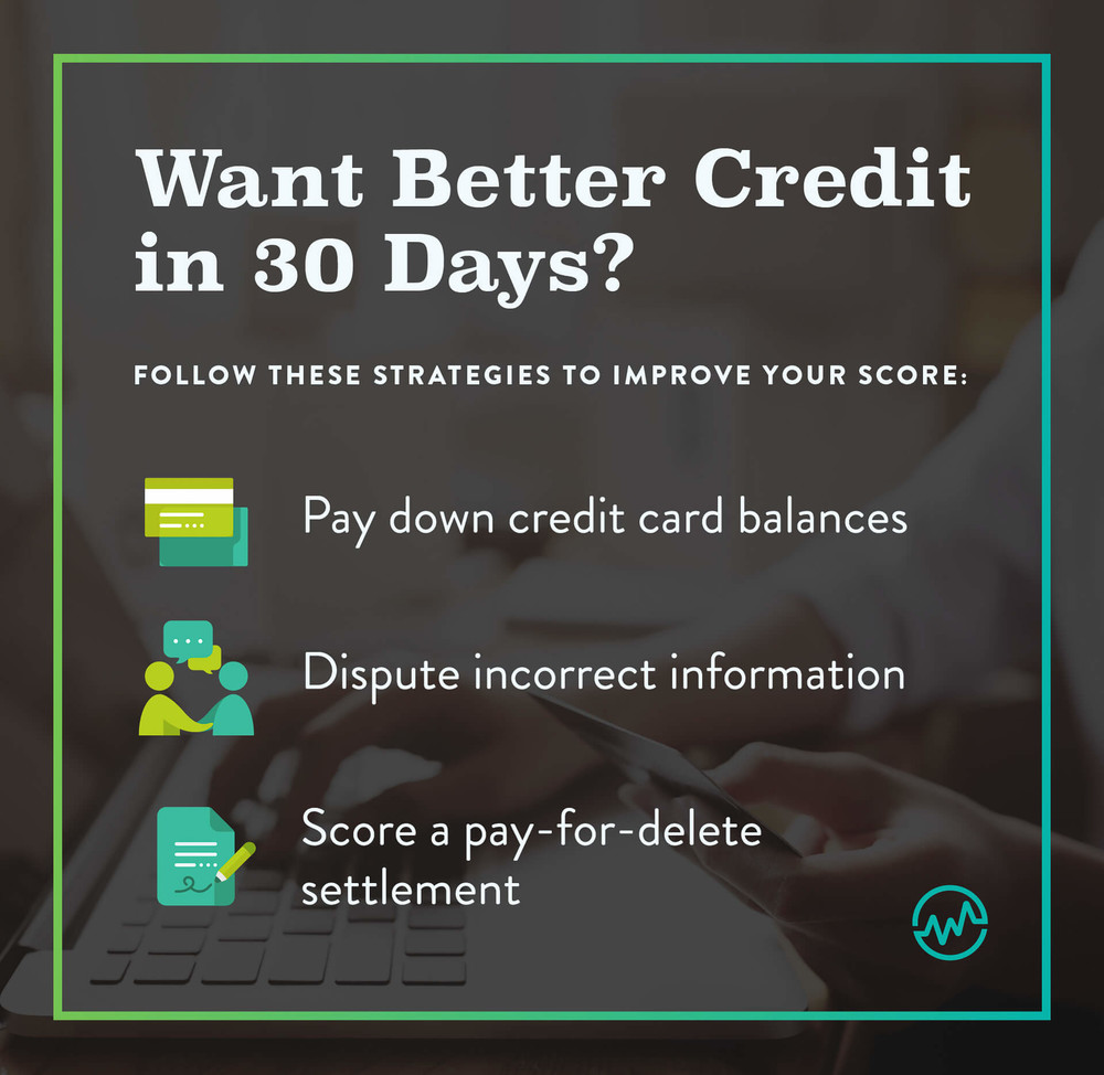 Infographic showing 3 ways to improve your credit score in 30 days