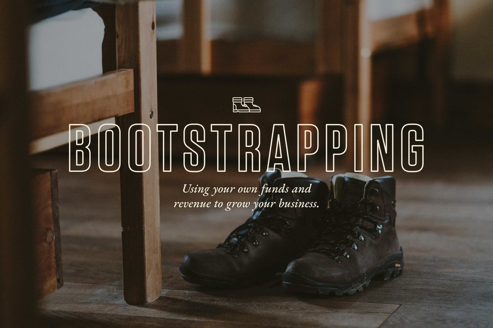 Boots with laces as a symbol for bootstrapping startup business