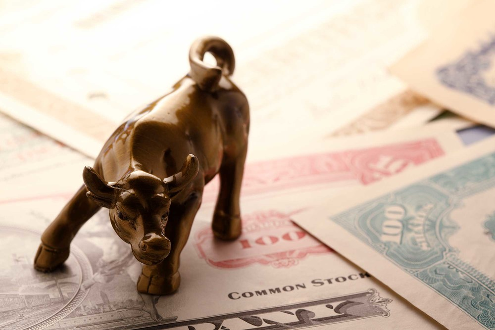 Wall Street bull as symbol of investing in options